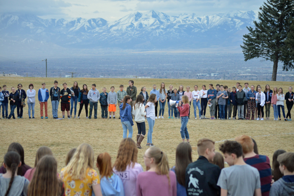 Lydia Timms and other student leaders at Churchill Jr. High speak about the need for more gun control as well as more kindness between students. (Justin Adams/City Journals)