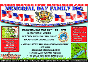 Memorial Day Family Fun at The Shell Factory - start May 28 2018 0930AM