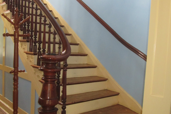 The railing in the mansion stairway had to be replaced after the original was used for firewood by Union soldiers.