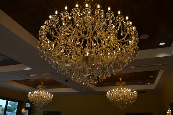 he ballroom features six chandeliers, and is perfect for wedding receptions and special events. (Photo by Richard Gaw)