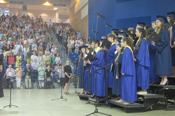 The UHS Chorale sings The Star Spangled Banner.
