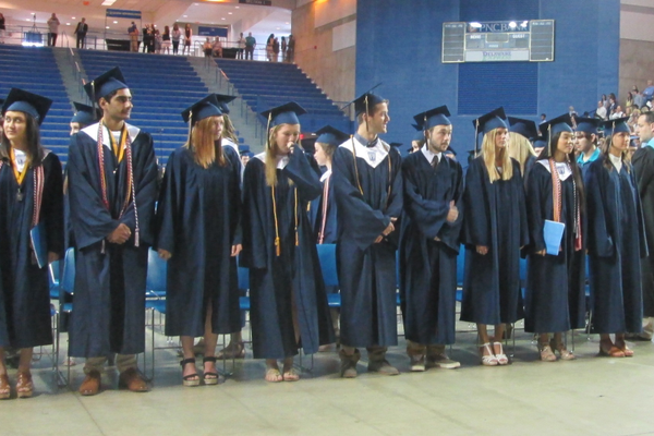 Students line up at the Bob Carpenter Center.