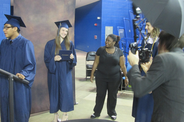 Students paused for an official photo before walking on stage.