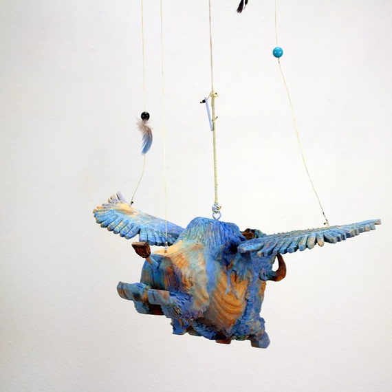 Armond lara flying blue buffalo carving 5