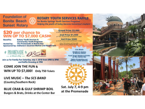 Rotary Youth Services Raffle - Live Music  Seafood Fest - start Jul 07 2018 0400PM