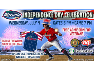 Fort Myers Miracle Fireworks - start Jul 04 2018 0700PM