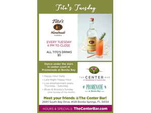 Titos Tuesday at The Center Bar  - start Jul 17 2018 0400PM