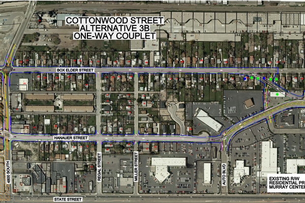 One proposed plan shows Box Elder and Hanauer Streets being realigned as a one-way couplet. (Photo courtesy Murray City)