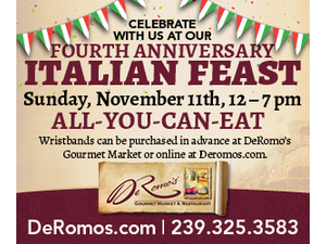 DeRomos Fourth Anniversary Italian Feast - start Nov 11 2018 1200PM