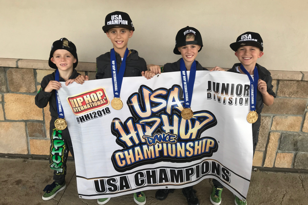 From left, Aaron Connor, Dante Graziano, Matteo Graziano and Giacinto Graziano are members of Lil Phunk, the Junior Division National Hip Hop Dance Champions.