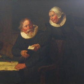 The 20shipbuilder 20and 20his 20wife 20after 20 20rembrandt  20painted 20by 20t.w. 20wood  20oil 20on 20canvas  201898  20899.001.245