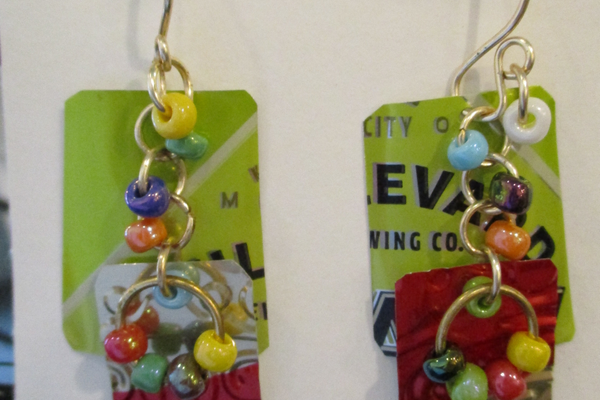 Earrings made from recycled materials by Dona Antonelli.
