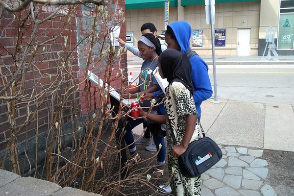 Students in AJAPO's Youth Program learn about urban sustainability in downtown Pittsburgh in partnership with The Door Campaign.
