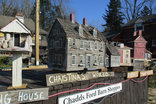 Local landmarks have been turned into birdhouses that  are displayed at the Barn Shops.