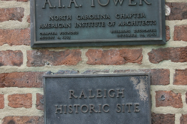 AIA Water Tower historic plaque on the front of the building