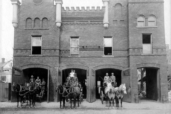 Fire station across from the tower, 1910