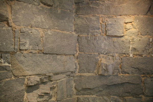 Close up view of the granite stone blocks inside the tower office