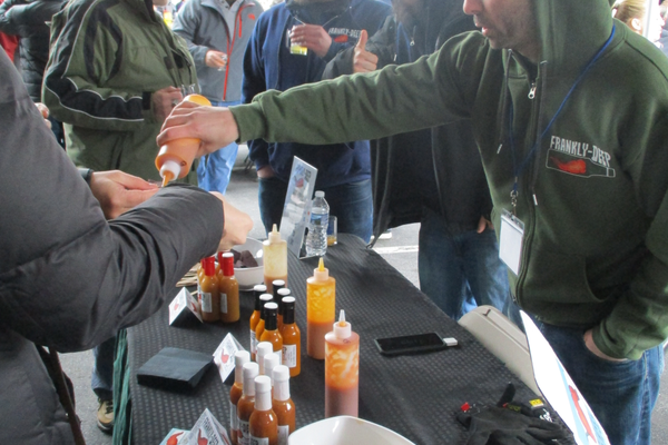Samples of Frankly-Deep Hot Sauce drew a steady crowd of visitors.