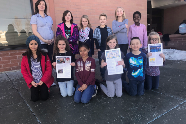 Fifth and sixth graders are proud to be a part of the new newspaper club. (photo courtesy Jessica Sheffield)