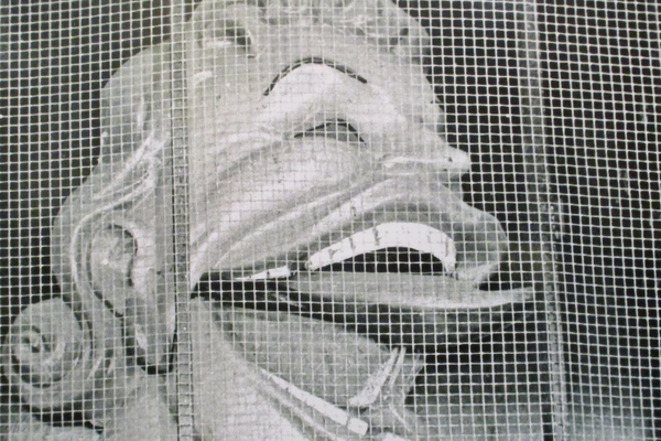 The 'Laughing Lady' sculpture hung on the front of the Fun House.