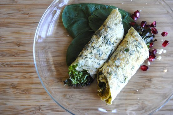 Healthy Omelet Wrap with Pistachio Pesto, Feta & Greens by My Jerusalem Kitchen
