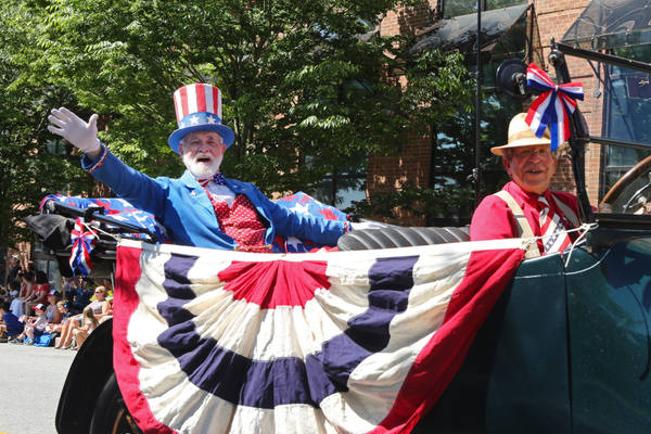 Gerald Treadway, as Uncle Sam, greets the watchers from his carriage.