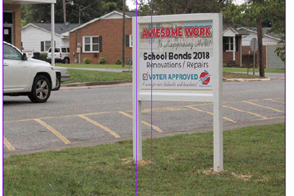 This sign pretty much says it all: thanks to a 2018 voter-approved school bond referendum, all Gaston County Schools, like Mr. Shawn Hubers' Cherryville Elementary, are the recipients of much-needed funds for renovation and repair work.