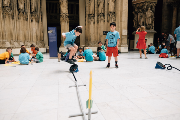 On May 7, 2019, nearly 1,000 students came together for a design activity at Carnegie Museum of Art for the kickoff for Remake Learning Days in Southwestern PA. Students tested self-designed rocket launchers.