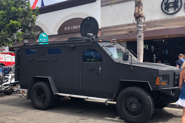 The Manhattan Beach SWAT team vehicle
