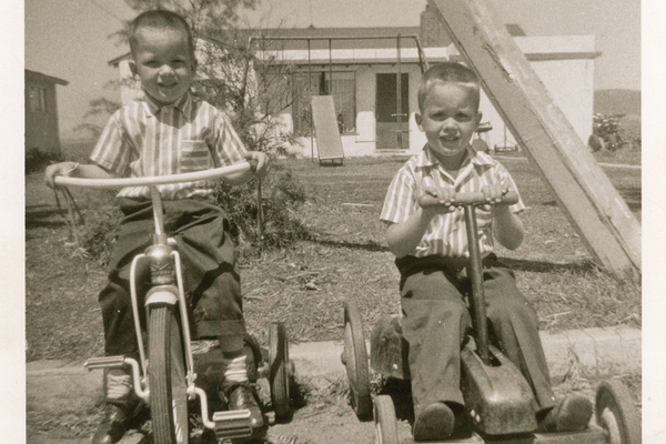 Randy & brother Ron in front of their childhood home on Calle Campo. (1958)