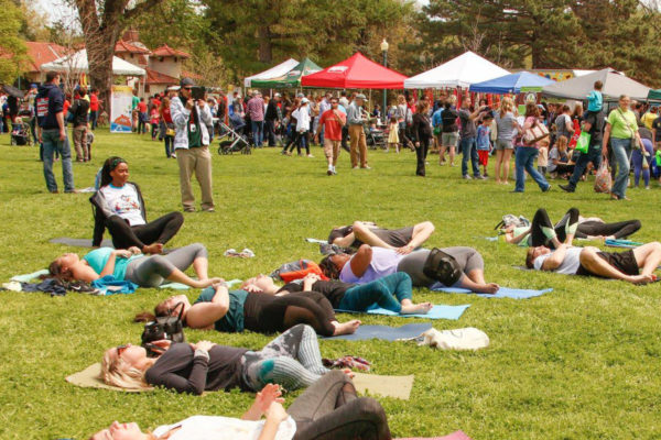 yoga class at Earth Day Omaha