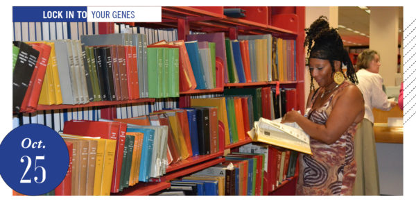 woman in genealogy section of library