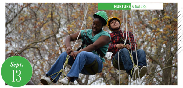 two people tree climbing (with ropes)