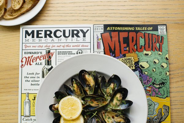 scallops and menu at Mercury Lounge