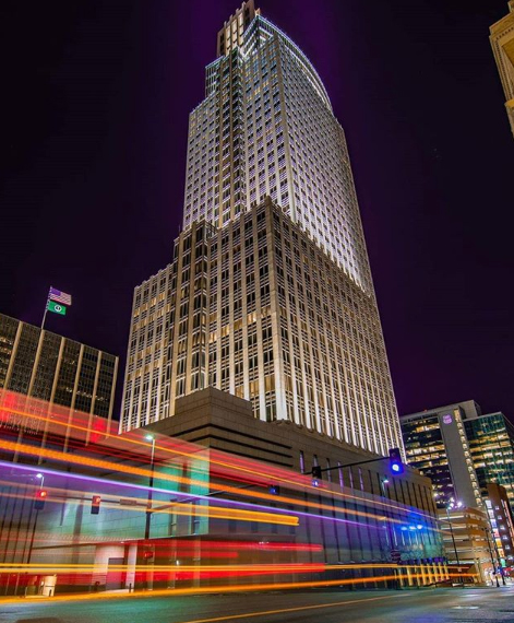Omaha's First National Tower at night