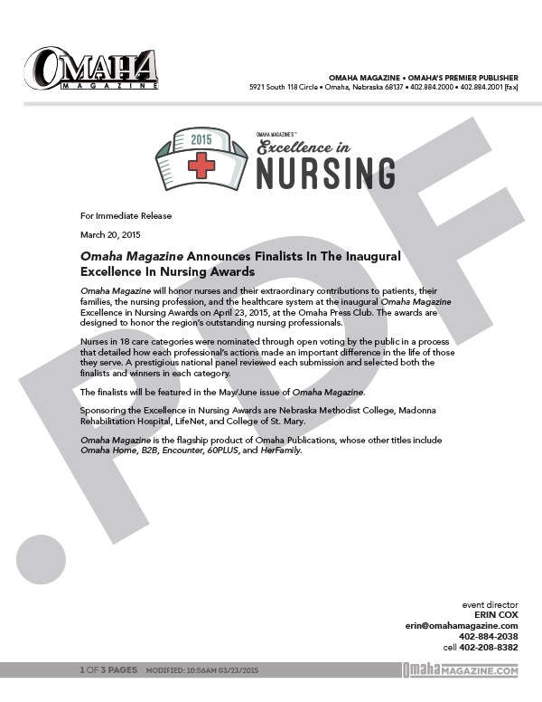 Excellence in Nursing Press Release 2015_Web