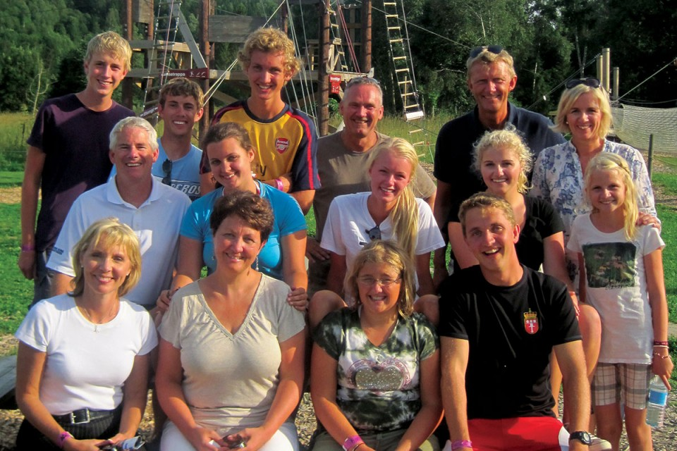 The Christensen-Morris family remains close with the Gjelstad and Lien kids and their families. Photo taken in Norway, August 2011.
