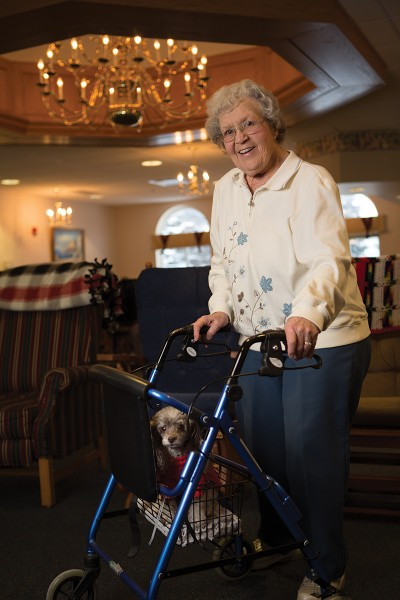 Mable Rose resident Alene Dytrych with her Poodle, Star.