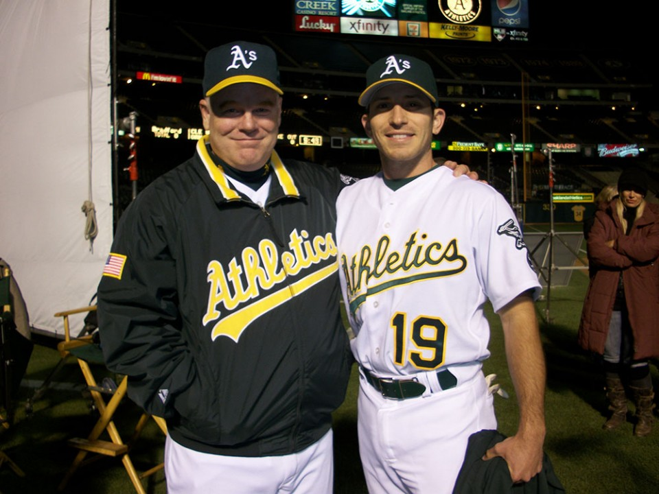 Hover with actor Philip Seymour Hoffman on the set of Moneyball. Photo provided by Erich Hover.