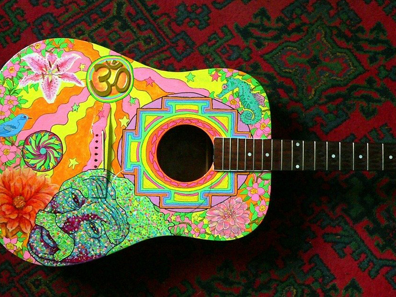psychedelic art on guitar