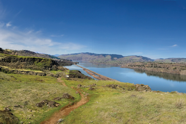 McCall Point Overlook showing access trail and the Columbia River