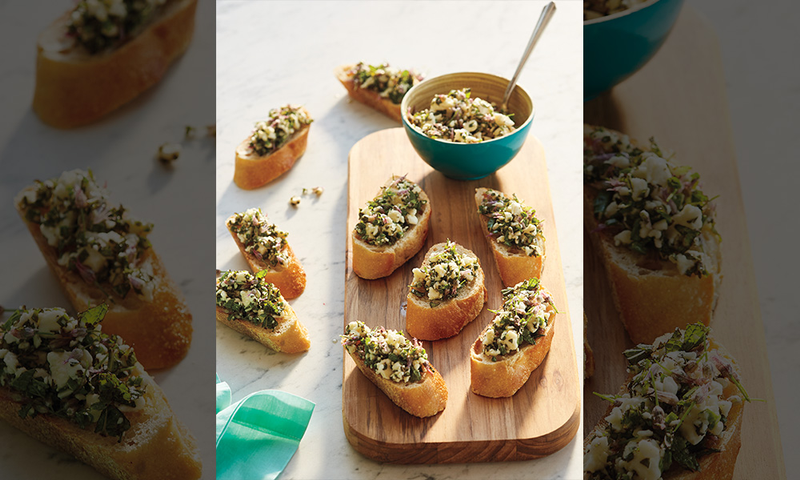 Mint and Feta Bruschetta with Chive Blossoms