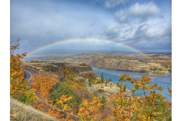 Autumn view of the Columbia River and rainbow
