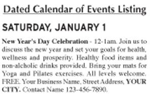 Date Specific Calendar item Sample