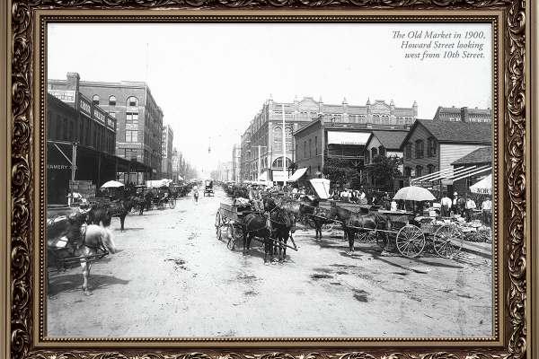 old market black and white 1900's photo