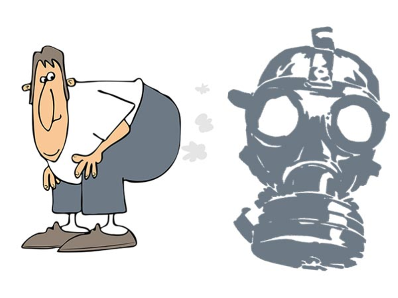 Cartoon man passing gas or farting, with the image of a gas mask next to him