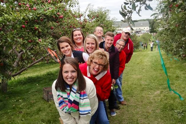Visiting an apple orchard with the cousins