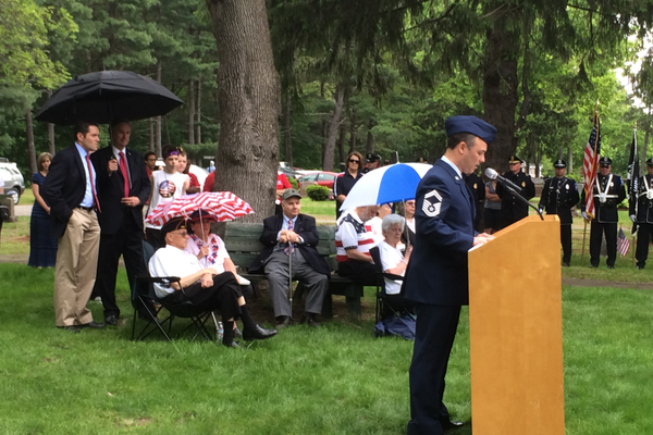 Keynote speaker Senior Master Sgt. Stephen Voto speaks at the Tewksbury Memorial Day Ceremony.