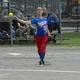 Sophomore third baseman Kirsten Dick fires to first