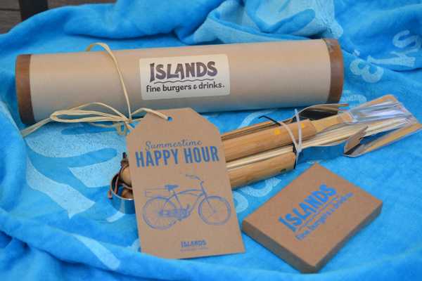 Our Islands giveaway includes an Islands beach towel, Islands BBQ kit, and a $50 Islands gift certificate.
